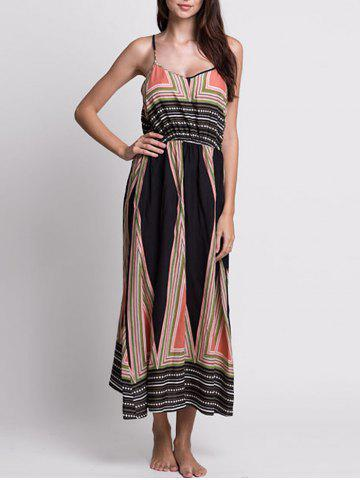 Trendy Casual Bohemian Print Slip Long Summer Dress - L COLORMIX Mobile
