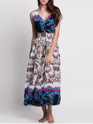Unique Bohemian Printed Tea Length Dress