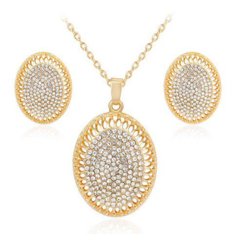Rhinestone Oval Pendant Necklace and Earrings Set - Golden - One-size