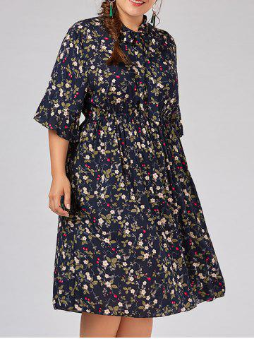 Cheap Plus Size  Tiny Floral Flare Sleeve Country Dress