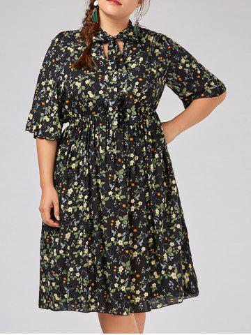 Shop Plus Size  Tiny Floral Flare Sleeve Country Dress