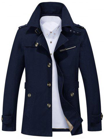 Button Up Notch Collar Slim Fit Jacket - Blue - Xl