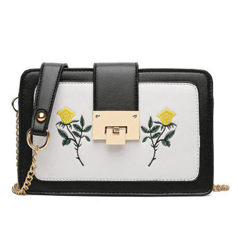 Best Chain Strap Floral Embroidery Crossbody Bag - BLACK  Mobile