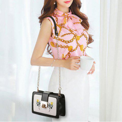 Shops Chain Strap Floral Embroidery Crossbody Bag - BLACK  Mobile