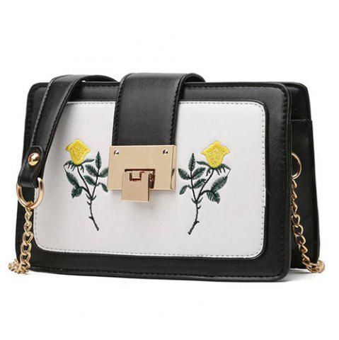 Sale Chain Strap Floral Embroidery Crossbody Bag - BLACK  Mobile