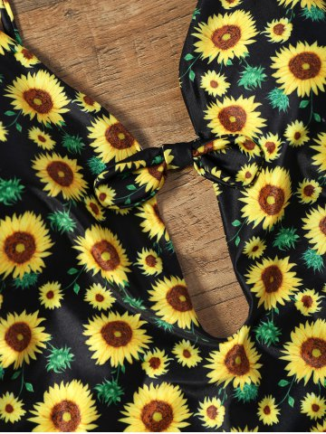 New Sunflower Print Plunging Neckline Backless Swimsuit - S COLORMIX Mobile
