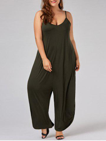 Discount Plus Size Spaghetti Strap Baggy Jumpsuit - 5XL ARMY GREEN Mobile