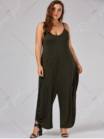 Outfits Plus Size Spaghetti Strap Baggy Jumpsuit - 5XL ARMY GREEN Mobile