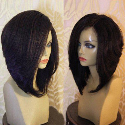 Fashion Side Part Short Natural Straight Synthetic Wig - BLACK  Mobile