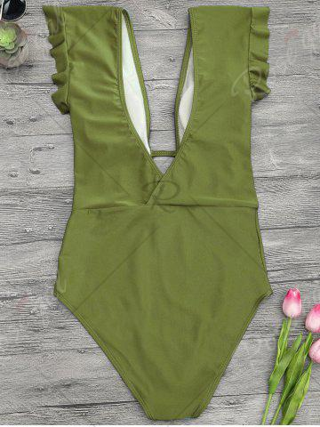 Latest Frilled One Piece Plunge Swimsuit - M GREEN Mobile