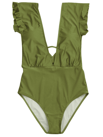 Affordable Frilled One Piece Plunge Swimsuit - M GREEN Mobile