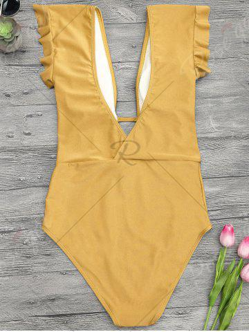 Fancy Frilled One Piece Plunge Swimsuit - L GINGER Mobile