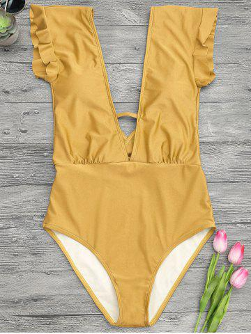 Affordable Frilled One Piece Plunge Swimsuit - L GINGER Mobile
