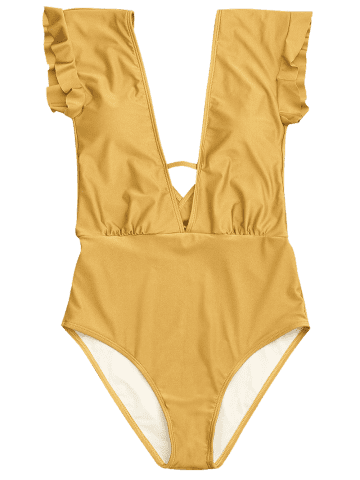 Store Frilled One Piece Plunge Swimsuit - L GINGER Mobile