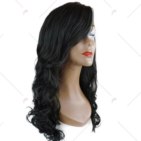 Shops Deep Side Part Long Wavy Lace Front Synthetic Wig - BLACK  Mobile