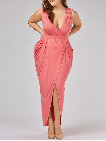 Hot Ruched Plus Size Surplice Maxi Evening Dress