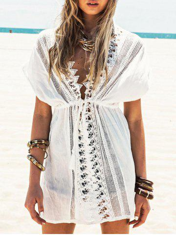 Shop Lace Insert Plunging Neckline Cover Up Dress WHITE ONE SIZE