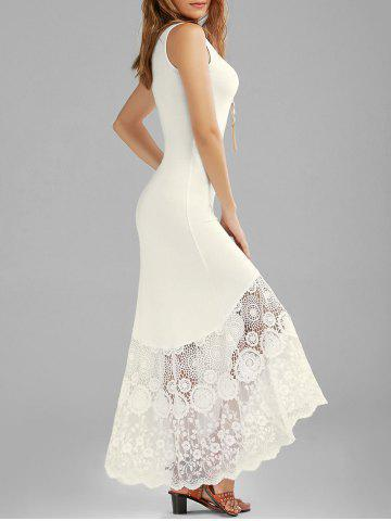 Best Long Tight Scalloped Lace Panel Maxi Tank Dress OFF-WHITE XL
