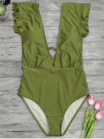 Best Frilled One Piece Plunge Swimsuit - M GREEN Mobile