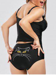 Cami High Waist Cat Shape Tankini Set