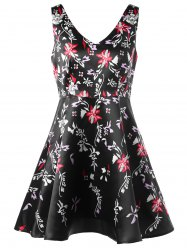 Tiny Floral V Neck Sleeveless Skater Dress