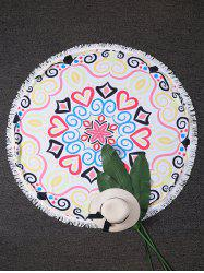 Hearts Print Round Fringed Beach Throw - COLORMIX ONE SIZE