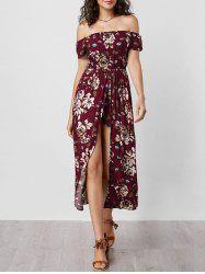 Off The Shoulder Overlay Floral Print Romper - WINE RED