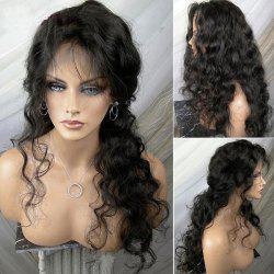 Partie gratuite Long Shaggy Body Wave perruque synthétique avant en dentelle - Noir