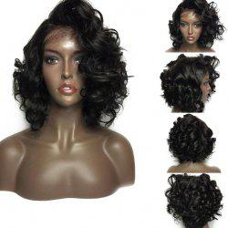 Free Part Short Shaggy Curly Lace Front Synthetic Wig - BLACK