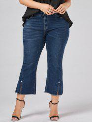 Plus Size Frayed Hem Boot Cut Jeans - DENIM BLUE