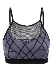 Fishnet Insert Sport Cropped Tank Top - GRAY