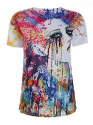 Graphic Print Short Sleeve Beaded T Shirt