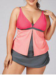 Plus Size Padded Color Block Tankini Set - ORANGE