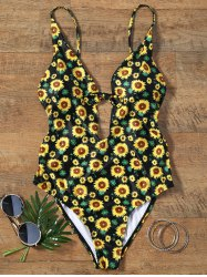 Sunflower Print Plunging Neckline Backless Swimsuit