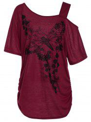 Plus Size Skew Collar Butterfly Print Tunic Top - RED