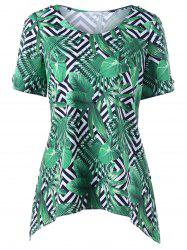 Round Neck Tropical Leaf Print Tee