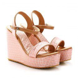 Wedge Heel Plaid Pattern Sandals