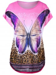 Butterfly and Leopard Curved Hem Tee