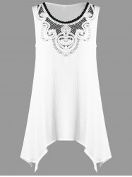 Crochet Appliqued Crinkle Tunic Top - WHITE