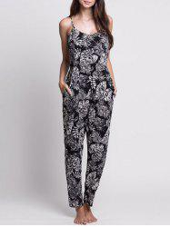 Leaf Print Lace-up Cami Jumpsuit - WHITE AND BLACK