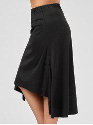 Plus Size Midi Flowy Asymmetric Skirt - BLACK
