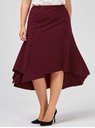 Plus Size Midi Flowy Asymmetric Skirt