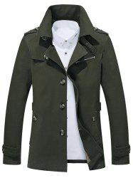 Button Up Notch Collar Slim Fit Jacket - ARMY GREEN 5XL