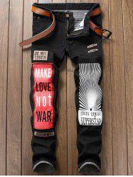 Straight Leg Graphic Print Color Block Applique Jeans