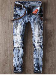 Narrow Feet Faded and Tie Dye Panel Ripped Jeans - BLUE