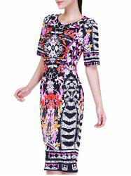 Printed Midi Bodycon Dress