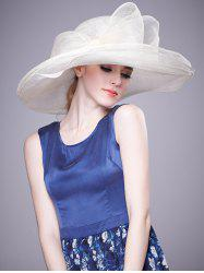 Cambric Layer Wide Brim Bowknot Banquet Hat