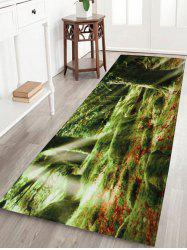 Coral Fleece Water Absorption Sunshine Trees Bath Rug - Yellow Green - W24inch*l71inch