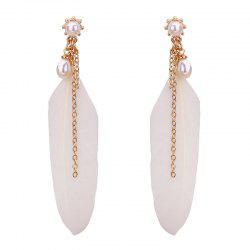 Faux Pearls Feather Drop Earrings