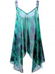 Graphic Plus Size Handkerchief Flowy Tank Top - GREEN